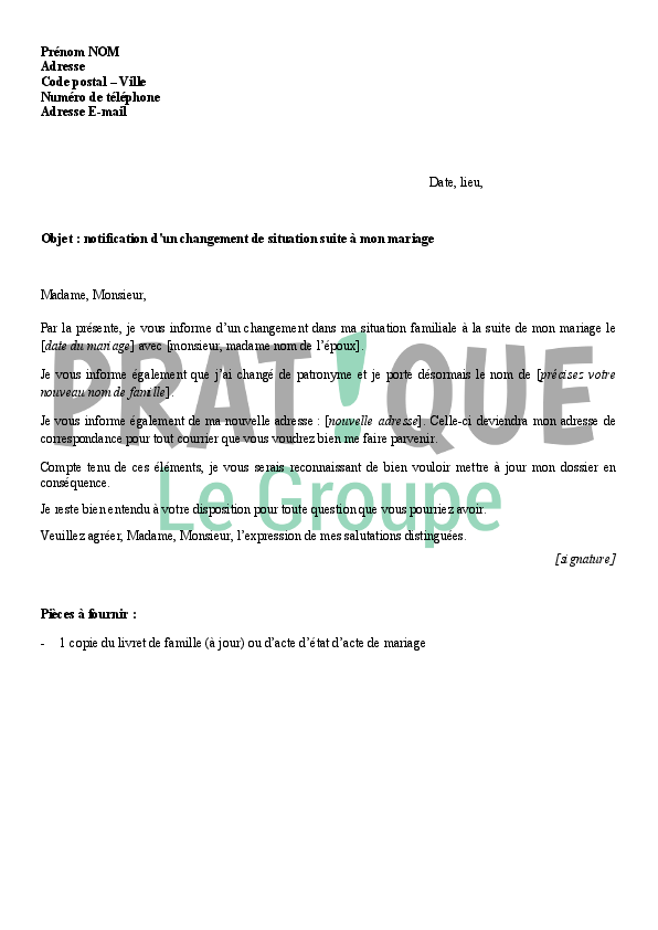 Modele Courrier Changement Rib Caf