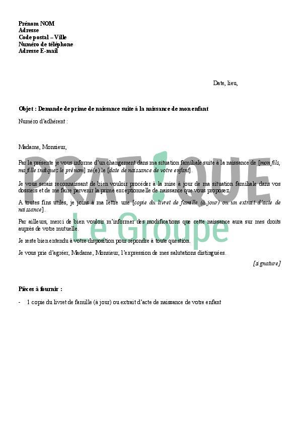 Lettre Declaration Naissance A La Caf