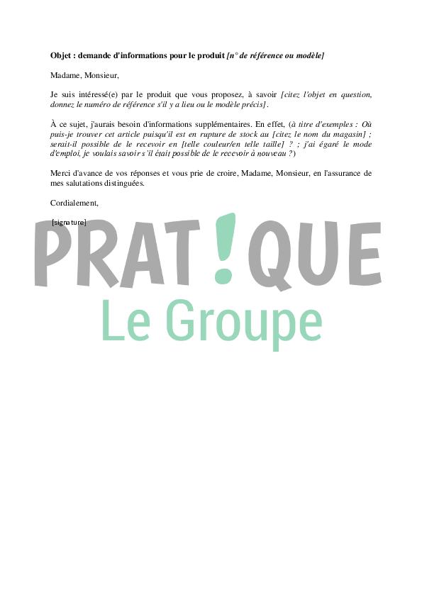 Email type de demande d'informations | Pratique.fr