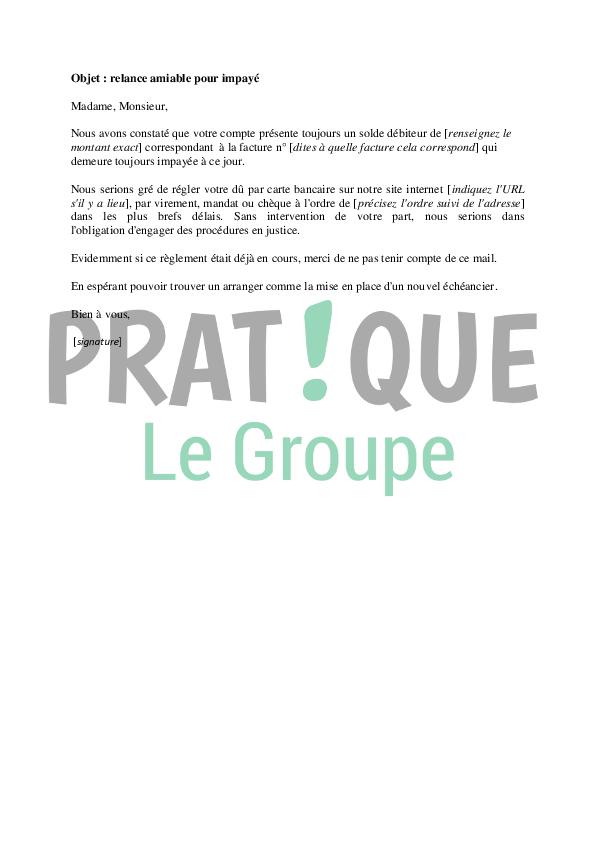 Email Type De Relance Amiable Pour Impaye Pratique Fr