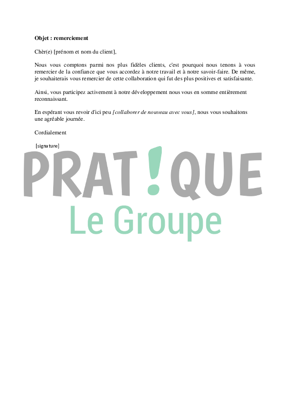 Email Type De Remerciements Pour Un Client Pratique Fr