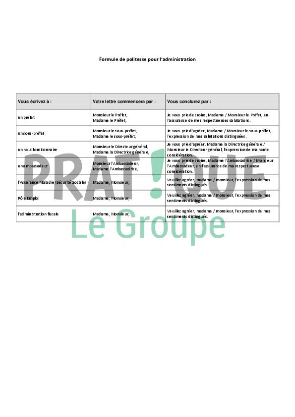 formules de politesse pour l u0026 39 administration  imp u00f4ts  p u00f4le