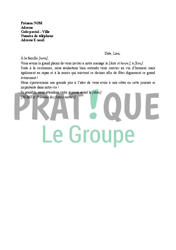 Invitation à Une Cérémonie De Mariage Pratique Fr