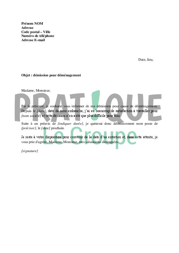 lettre de demission pour demenagement Lettre à l'employeur : démission pour cause de déménagement  lettre de demission pour demenagement