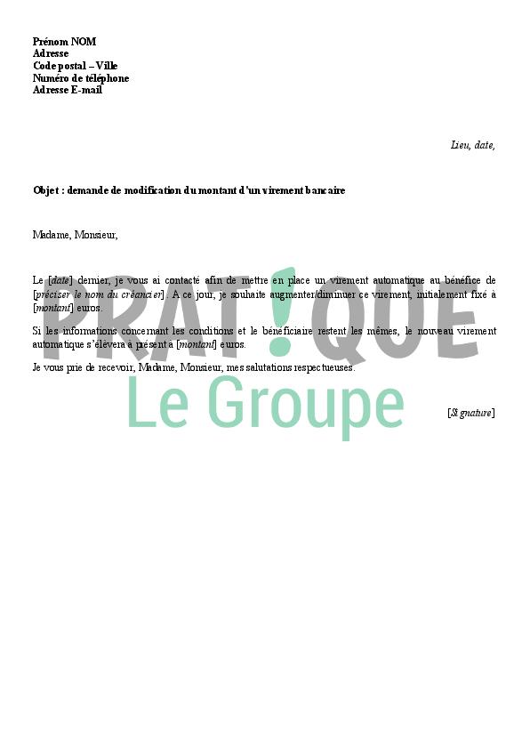 Lettre A La Banque Demande De Modification Du Montant D Un