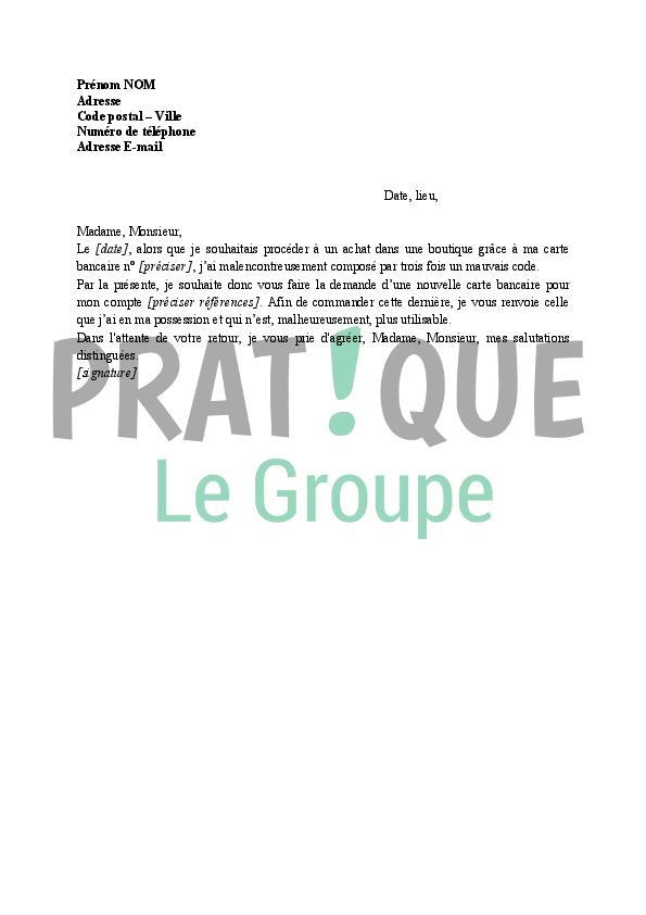 Lettre A La Banque Demande De Nouvelle Carte Bleue Pratique Fr