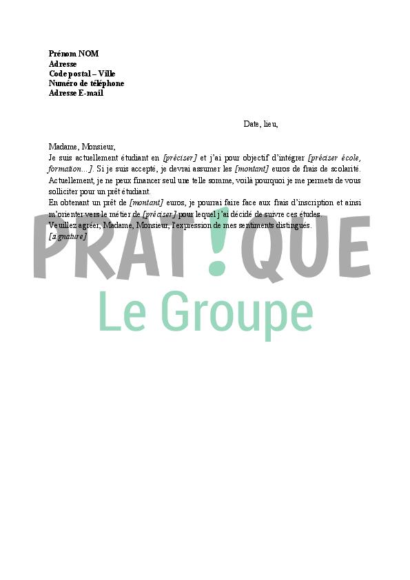 modele lettre demande de pret Lettre à la banque : demande de prêt étudiant | Pratique.fr modele lettre demande de pret