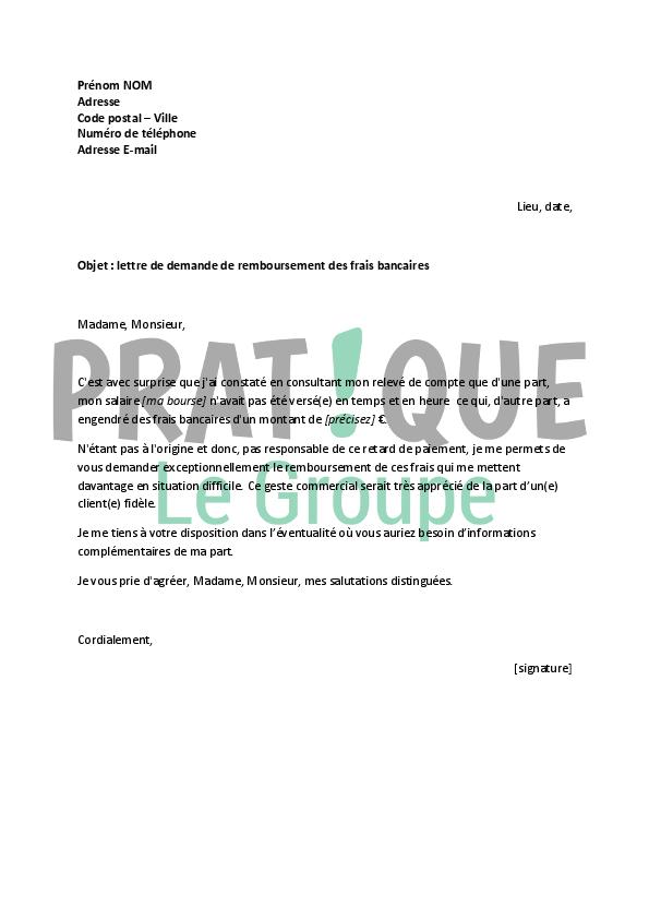 lettre  u00e0 la banque   demande de remboursement de frais