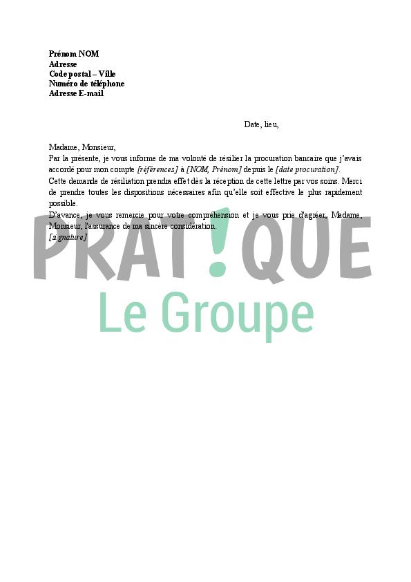 Lettre A La Banque Resiliation De Procuration Pratique Fr