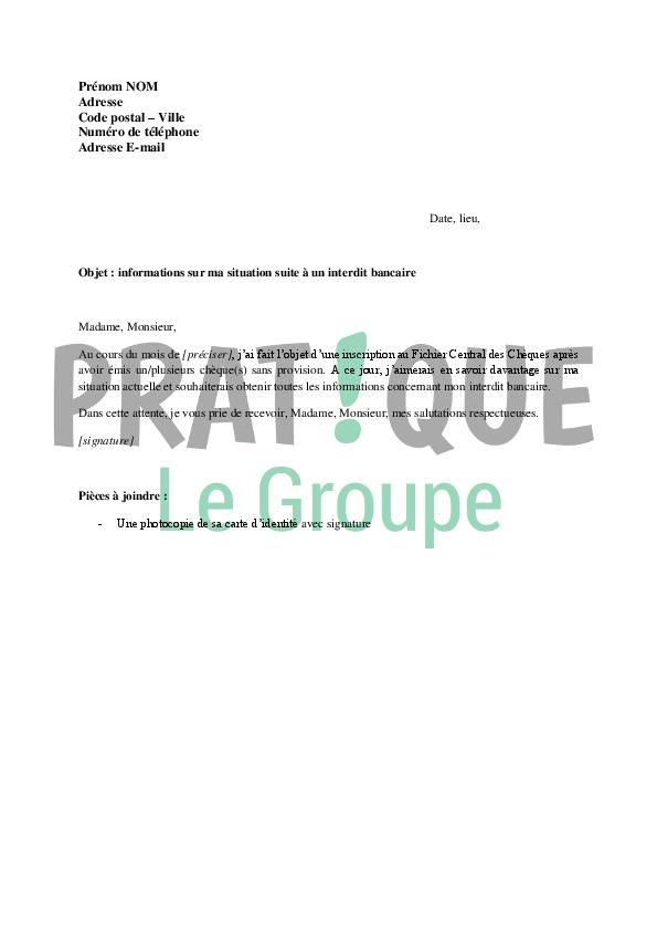 Lettre à la Banque de France : informations sur ma situation | Pratique.fr
