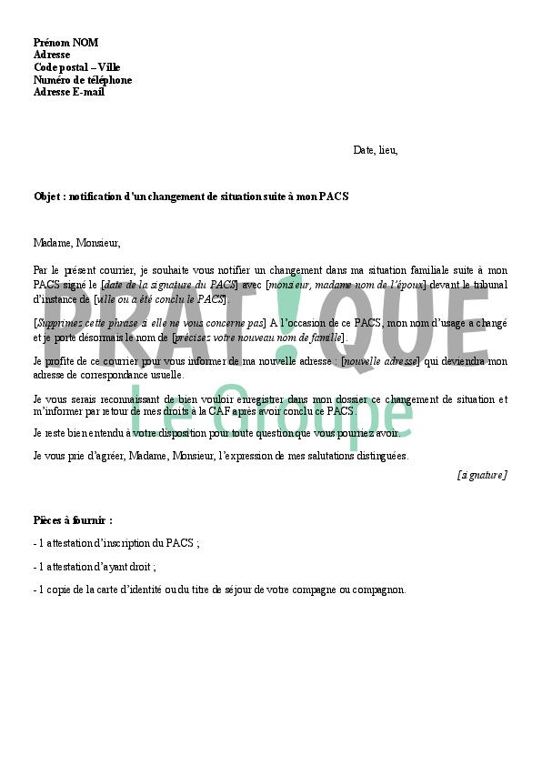 lettre  u00e0 la caf   notification d u0026 39 un pacs