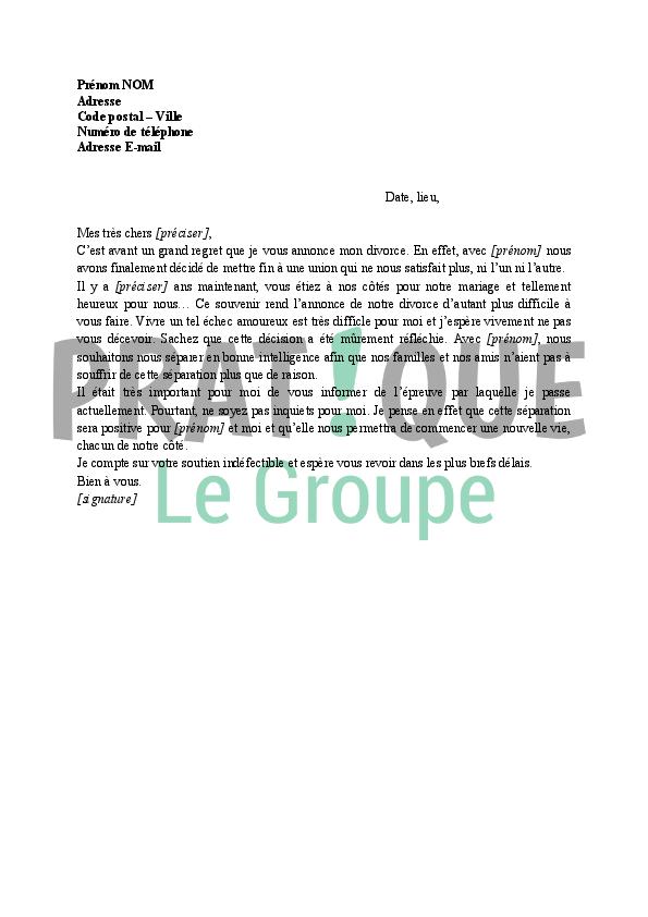 Lettre Annonce De Divorce A Sa Famille Modele 1 Pratique Fr