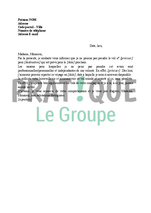 lettre annulation d u0026 39 un vol par le voyageur  report