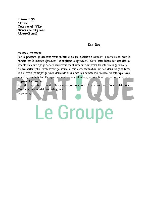 Lettre Annulation De Carte Bancaire A La Banque Pratique Fr