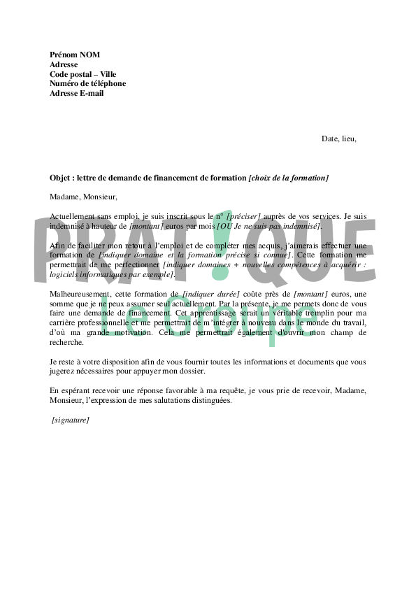 cover letter example  exemple de lettre de motivation pour une formation caces