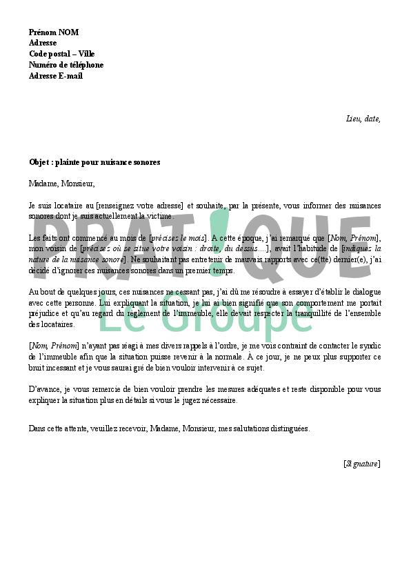 lettre au syndic pour des nuisances sonores - Nuisances Sonores Piscine Voisinage