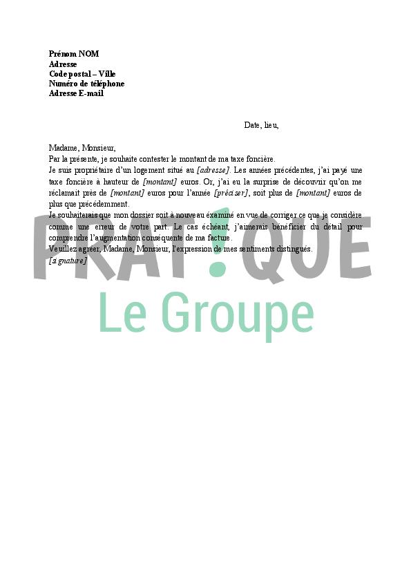 lettre aux imp u00f4ts   contestation du montant de la taxe