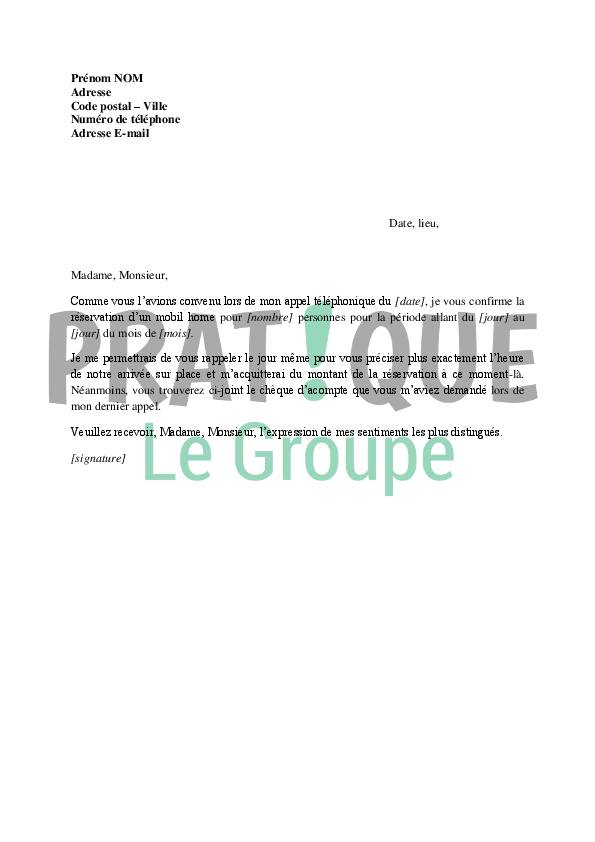 Lettre confirmation de r servation d 39 une location de mobil for Reservation dhotel