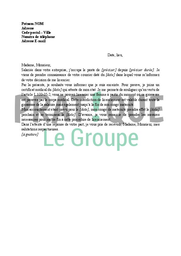 Lettre Contestation D Un Licenciement Pour Cause De Grossesse
