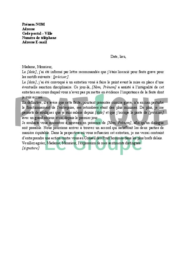 lettre contestation licenciement pour faute grave