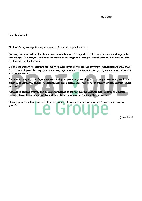 Lettre d 39 amour en anglais for Exemple de jardin anglais