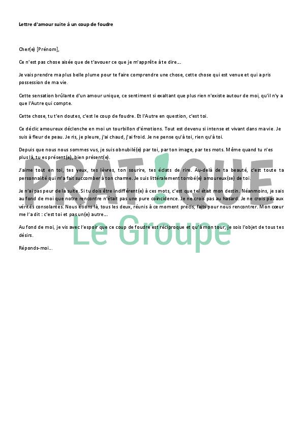Lettre D Amour A La Suite D Un Coup De Foudre Modele 2 Pratique Fr