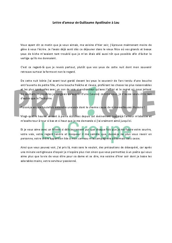 Lettre Damour De Guillaume Apollinaire à Louise De Coligny