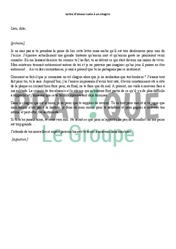 Lettre Damour Suite à Un Chagrin Pratiquefr
