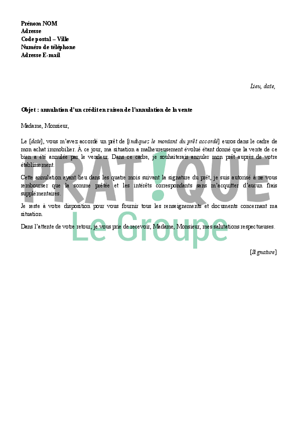 Lettre d 39 annulation d 39 un cr dit immobilier suite une vente annul e - Documents pret immobilier ...
