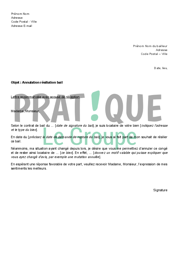 Lettre d 39 annulation de r siliation de bail - Droit de preavis locataire ...