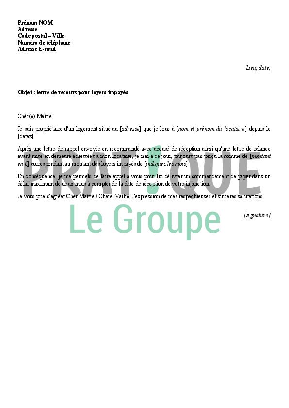 lettre d u0026 39 appel  u00e0 huissier  saisine  pour loyer impay u00e9