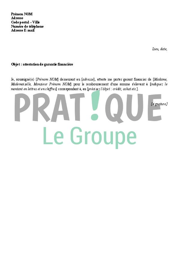lettre d attestation de caution financi 232 re pratique fr