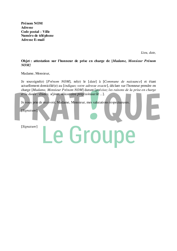 exemple de lettre d engagement financier