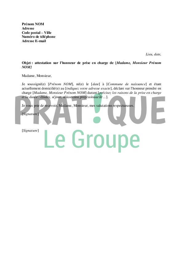 lettre d u0026 39 attestation sur l u0026 39 honneur de prise en charge