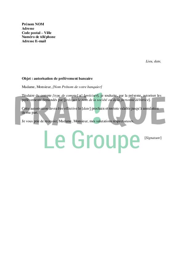 Lettre D Autorisation De Prélèvement Bancaire Pratique Fr