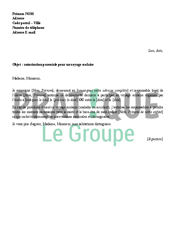 Fabuleux Lettre d'autorisation parentale pour un voyage scolaire | Pratique.fr XF57