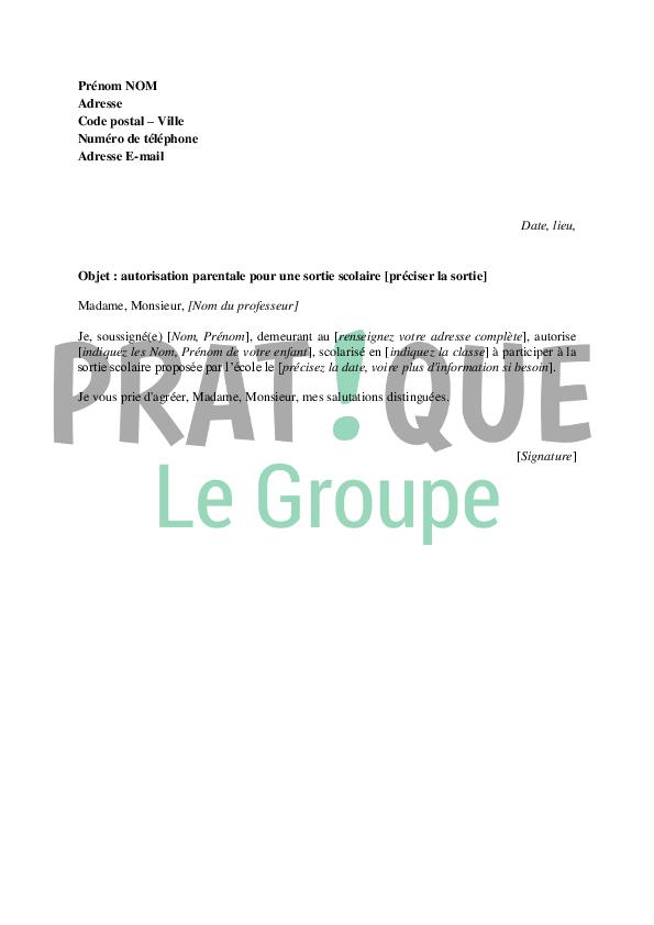 Modele Autorisation Parentale Ecole Document Online