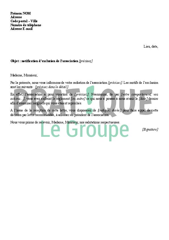 Lettre d 39 exclusion d 39 un membre d 39 une association for Exemple de reglement interieur entreprise