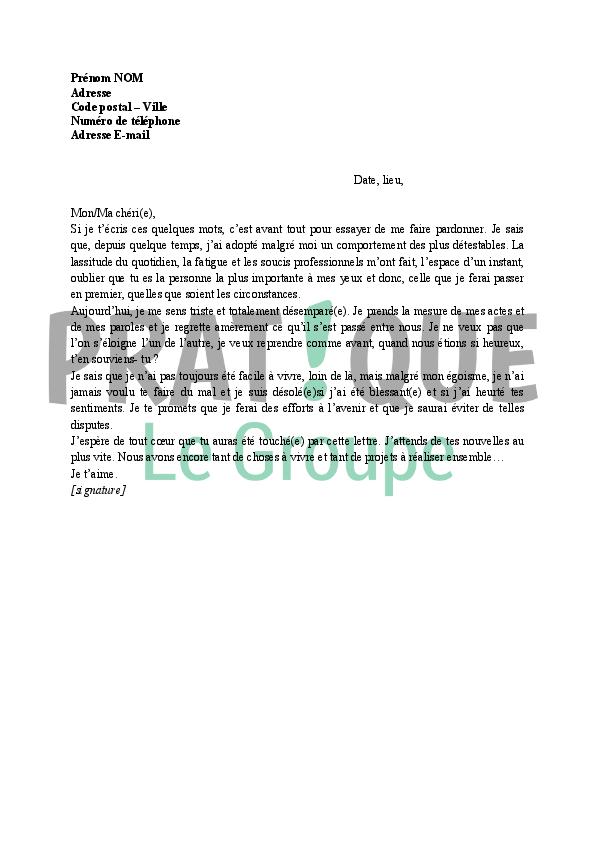 Lettre d'excuses (couple) | Pratique.fr