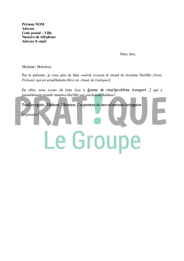 Lettre d'excuses pour retard à l'école | Pratique.fr