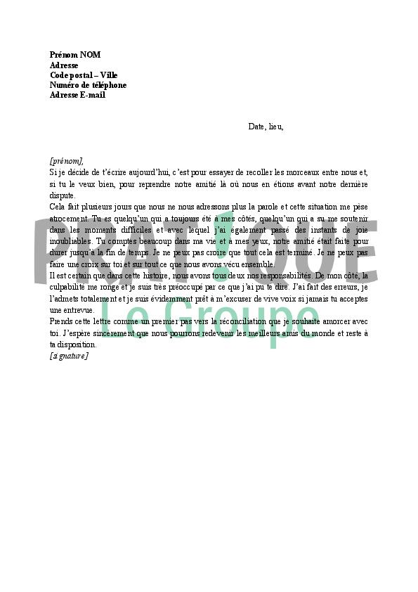 lettre d excuses pour un ami pratique fr
