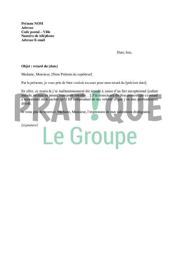 Lettre d'excuses pour un retard au travail | Pratique.fr