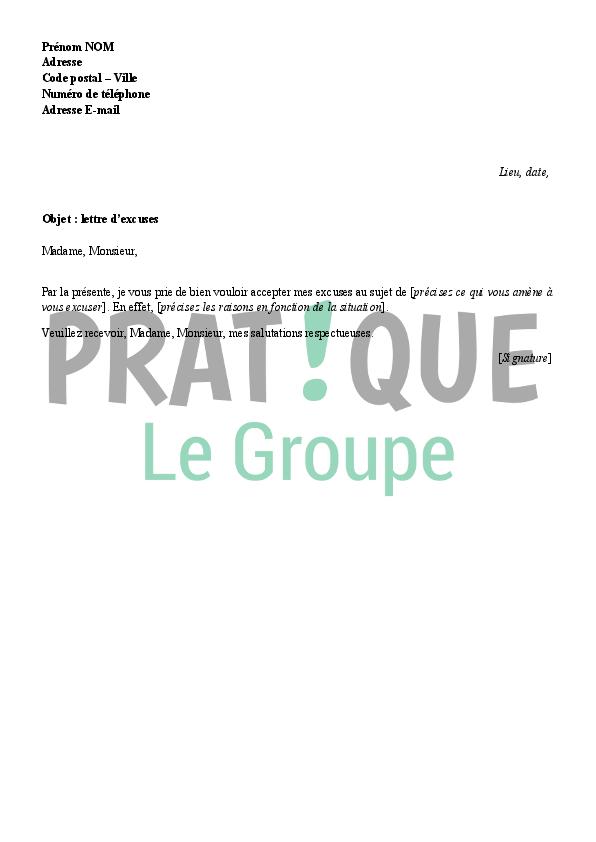 Lettre d'excuses type | Pratique.fr