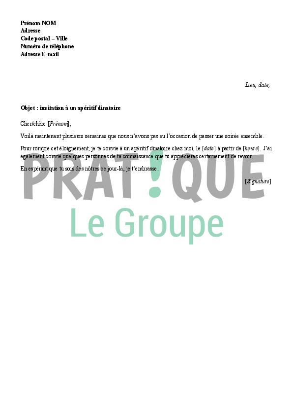 Lettre D 39 Invitation Un Ap Ritif Dinatoire