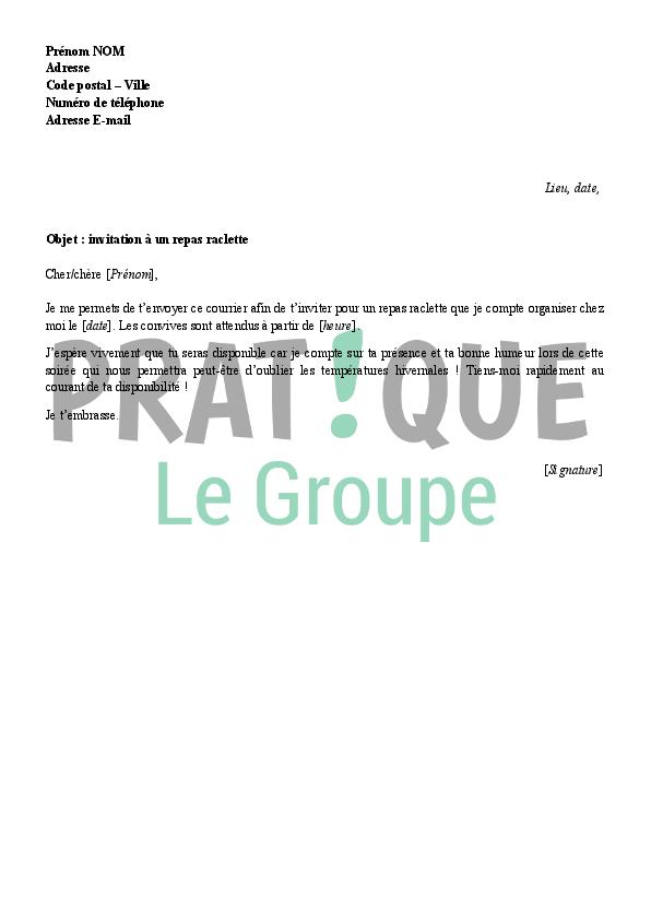 Lettre D Invitation A Une Raclette Pratique Fr