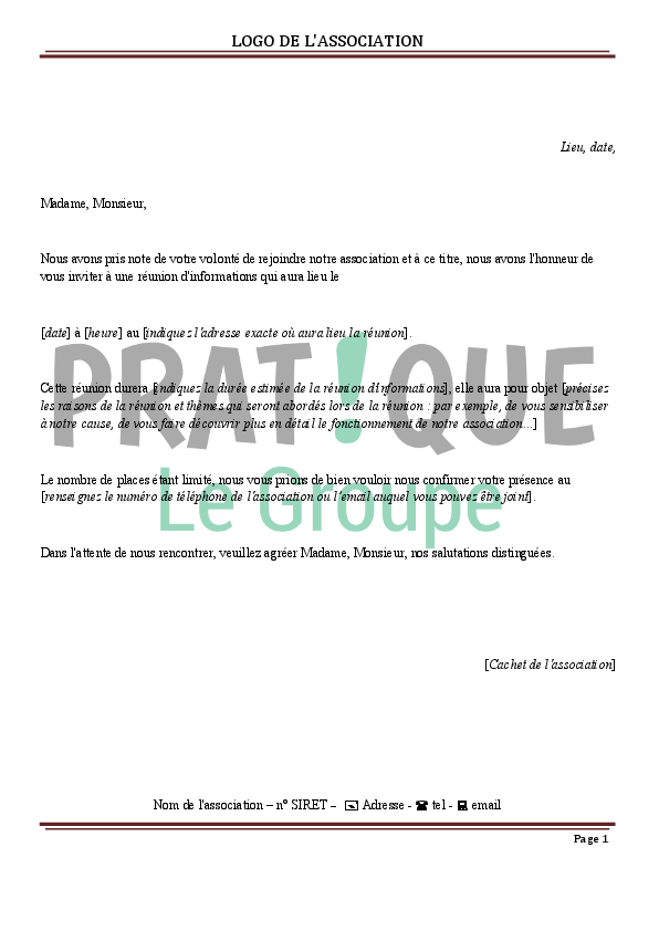 Lettre D Invitation A Une Reunion D Informations Association