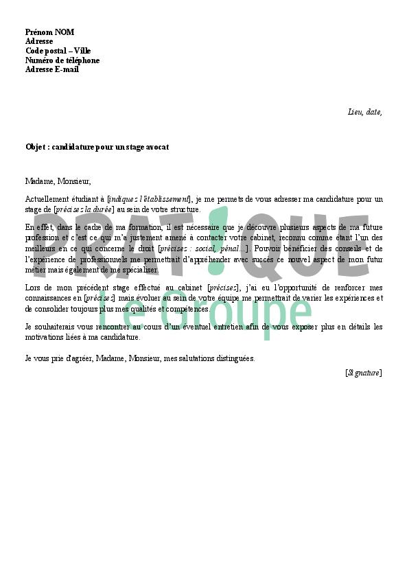 Modele lettre de motivation stage cabinet d 39 avocat - Rapport de stage cabinet d avocat exemple ...