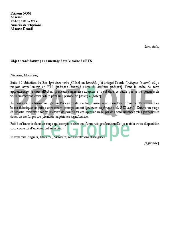 lettre de candidature  u00e0 un stage dans le cadre d u0026 39 un bts