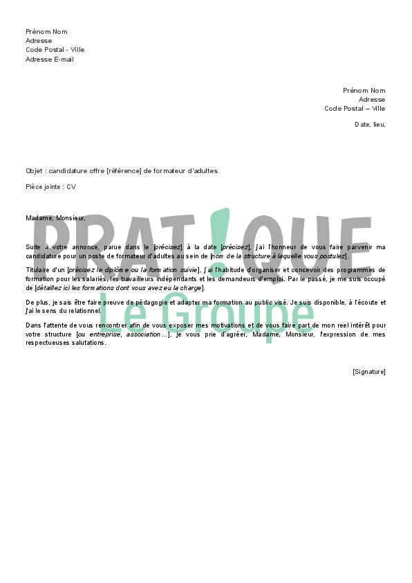 lettre de candidature en r u00e9ponse  u00e0 une offre d u0026 39 emploi de formateur pour adultes