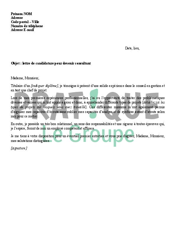 lettre de candidature pour devenir consultant